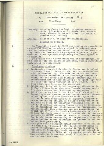 Raadsnotulen 1954