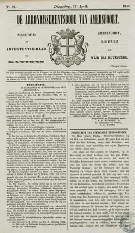 Arrondissementsbode van Amersfoort 1849-04-17