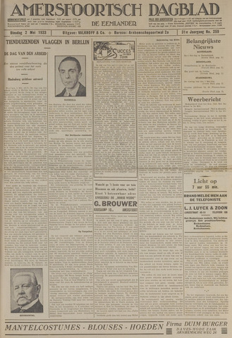 Amersfoortsch Dagblad / De Eemlander 1933-05-02