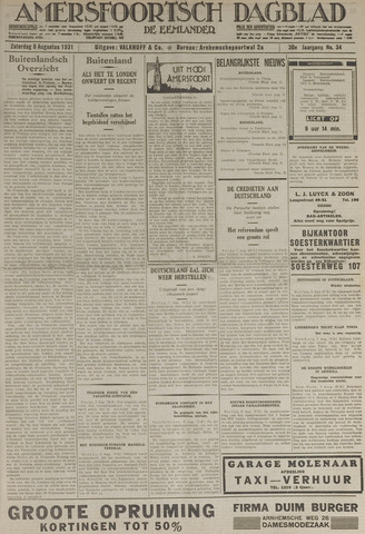 Amersfoortsch Dagblad / De Eemlander 1931-08-08