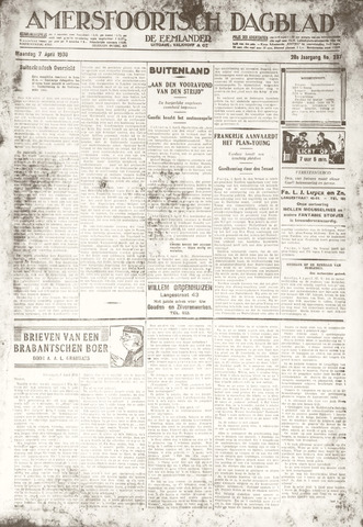 Amersfoortsch Dagblad / De Eemlander 1930-04-07