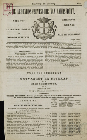 Arrondissementsbode van Amersfoort 1850-01-29