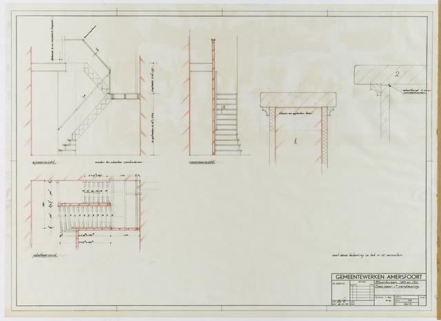 Extreem Een tekening van een interne trap naar eerste verdieping met voor MN57