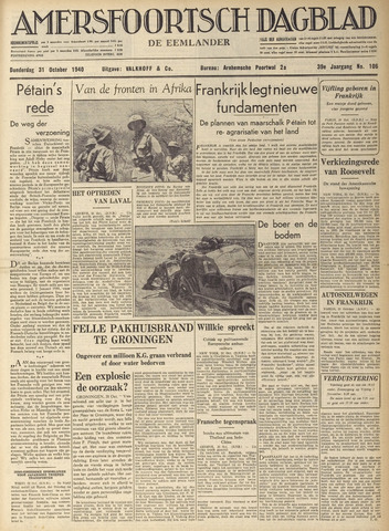 Amersfoortsch Dagblad / De Eemlander 1940-10-31
