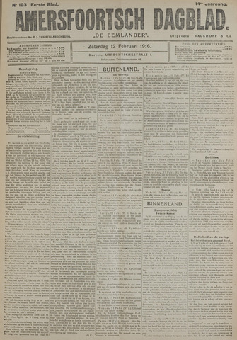 Amersfoortsch Dagblad / De Eemlander 1916-02-12