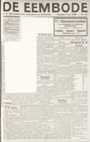 De Eembode 1922-10-03
