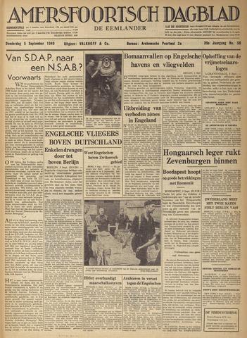 Amersfoortsch Dagblad / De Eemlander 1940-09-05