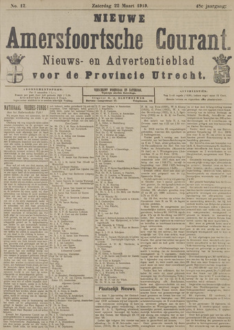Nieuwe Amersfoortsche Courant 1919-03-22