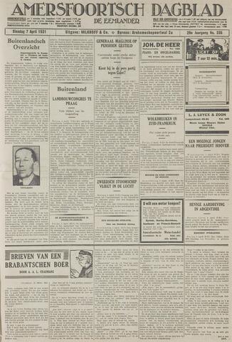 Amersfoortsch Dagblad / De Eemlander 1931-04-07