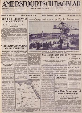Amersfoortsch Dagblad / De Eemlander 1940-06-27