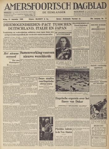 Amersfoortsch Dagblad / De Eemlander 1940-09-27