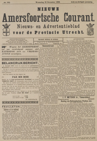 Nieuwe Amersfoortsche Courant 1909-12-22