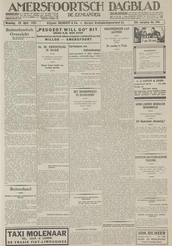 Amersfoortsch Dagblad / De Eemlander 1931-04-20