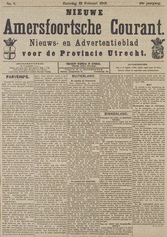 Nieuwe Amersfoortsche Courant 1919-02-22