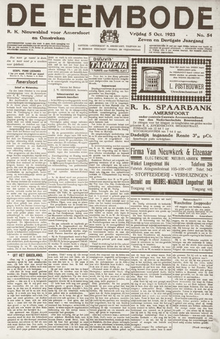 De Eembode 1923-10-05
