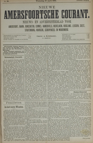 Nieuwe Amersfoortsche Courant 1884-04-30