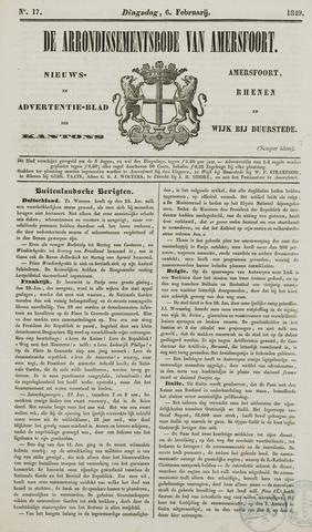 Arrondissementsbode van Amersfoort 1849-02-06
