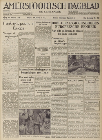 Amersfoortsch Dagblad / De Eemlander 1940-10-25
