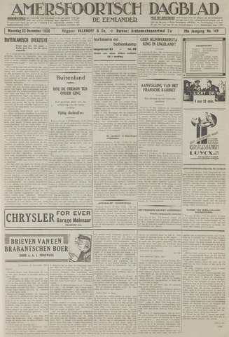 Amersfoortsch Dagblad / De Eemlander 1930-12-22