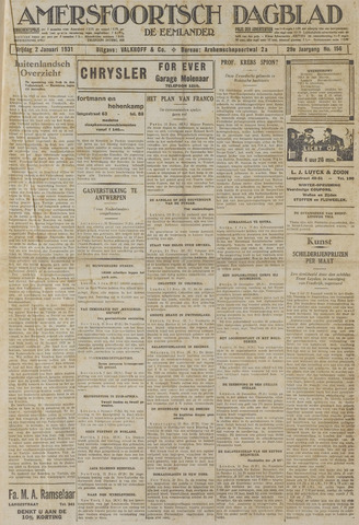 Amersfoortsch Dagblad / De Eemlander 1931-01-02