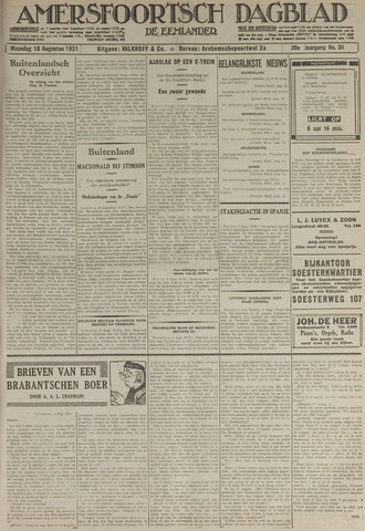 Amersfoortsch Dagblad / De Eemlander 1931-08-10