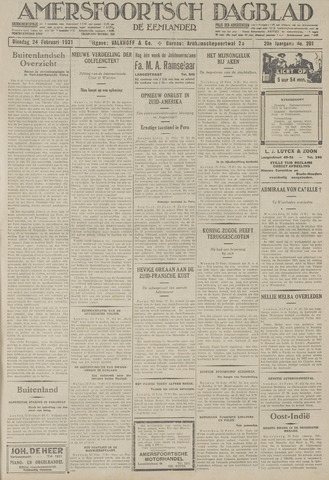 Amersfoortsch Dagblad / De Eemlander 1931-02-24