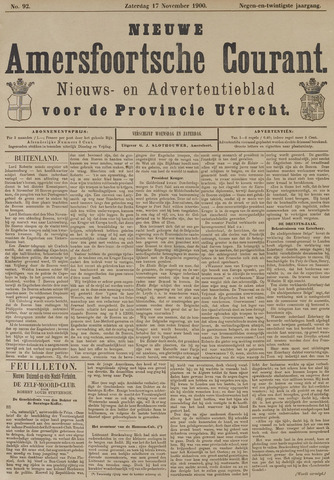 Nieuwe Amersfoortsche Courant 1900-11-17