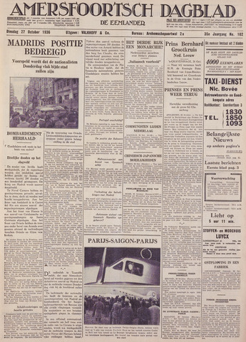 Amersfoortsch Dagblad / De Eemlander 1936-10-27