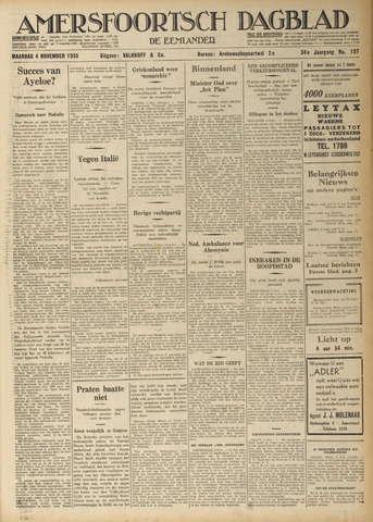 Amersfoortsch Dagblad / De Eemlander 1935-11-04