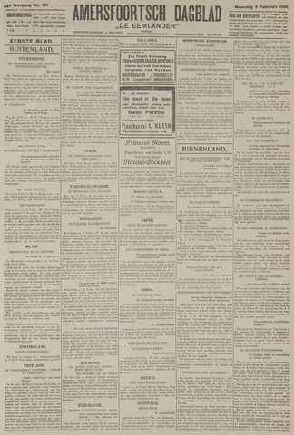 Amersfoortsch Dagblad / De Eemlander 1926-02-08