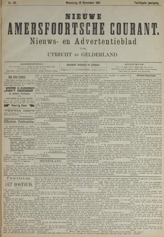 Nieuwe Amersfoortsche Courant 1891-11-18
