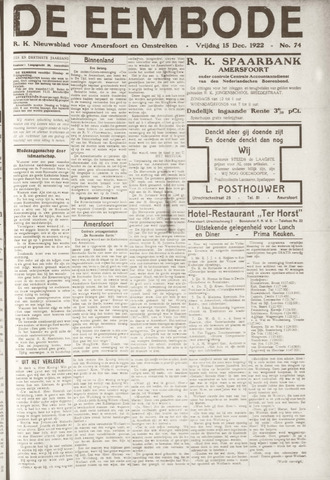 De Eembode 1922-12-15