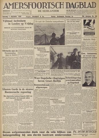 Amersfoortsch Dagblad / De Eemlander 1940-09-07