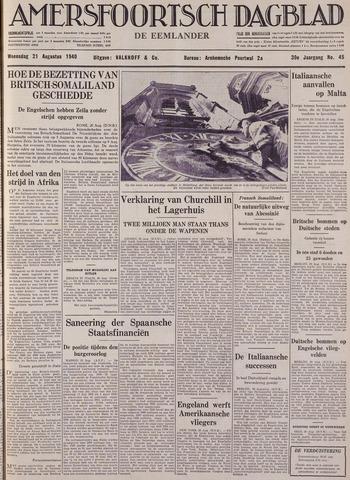 Amersfoortsch Dagblad / De Eemlander 1940-08-21