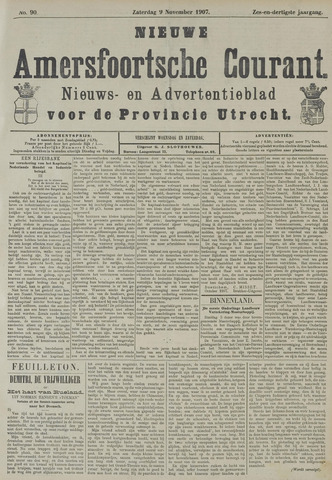 Nieuwe Amersfoortsche Courant 1907-11-09