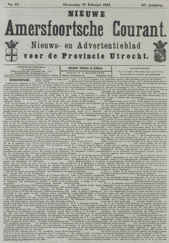 Nieuwe Amersfoortsche Courant 1918-02-27