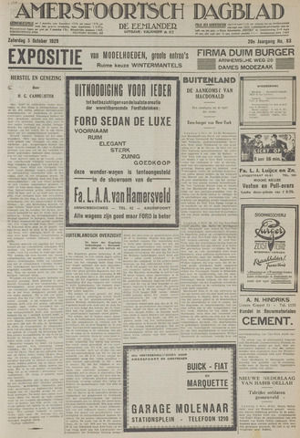 Amersfoortsch Dagblad / De Eemlander 1929-10-05