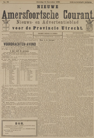 Nieuwe Amersfoortsche Courant 1899-11-11