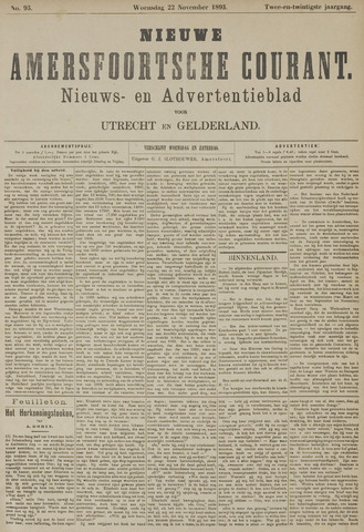 Nieuwe Amersfoortsche Courant 1893-11-22