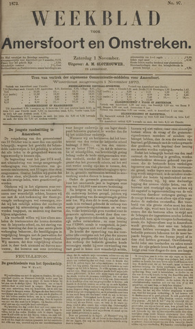Weekblad voor Amersfoort en Omstreken 1873-11-01