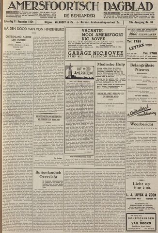 Amersfoortsch Dagblad / De Eemlander 1934-08-11