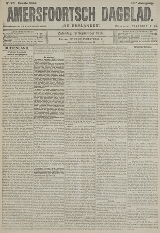 Amersfoortsch Dagblad / De Eemlander 1914-09-19