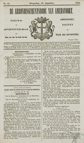 Arrondissementsbode van Amersfoort 1849-08-21