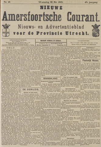 Nieuwe Amersfoortsche Courant 1918-05-29
