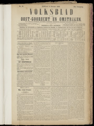 (Volksblad) Oost-Goorecht en Omstreken nl 1892-10-09