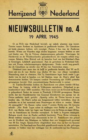Nieuwsbulletin gemeente Hoogezand nl 1945-04-19