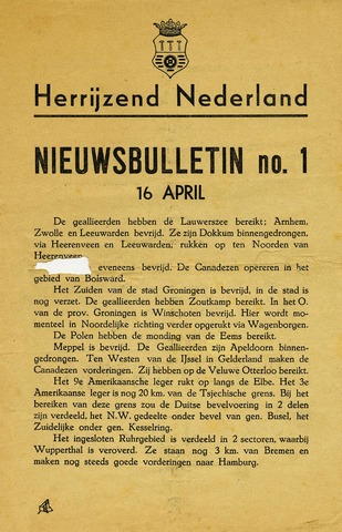 Nieuwsbulletin gemeente Hoogezand nl 1945-04-16