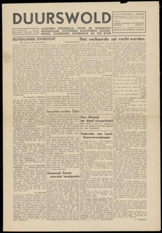 Nieuws- en Advertentieblad, Duurswold nl 1945-12-08