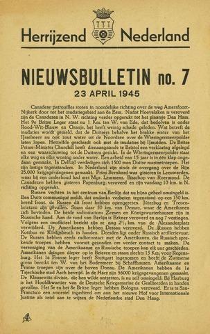 Nieuwsbulletin gemeente Hoogezand nl 1945-04-23