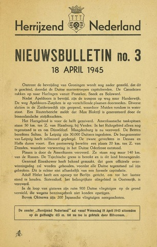 Nieuwsbulletin gemeente Hoogezand nl 1945-04-18